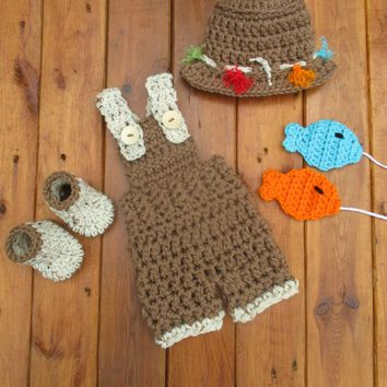 Medium Brown Newborn Boy Fishing Outfit Baby Photo Prop