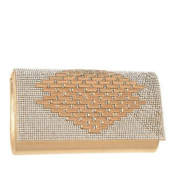 Rhinestone Pave Pattern Evening Clutch in Gold or Silver