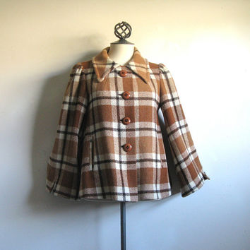 Vintage Daphne Raven London Brown Plaid 1960s Swing Coat