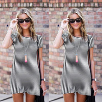 Summer Women's Fashion Round-neck Stripes Short Sleeve One Piece Dress [6343440129]
