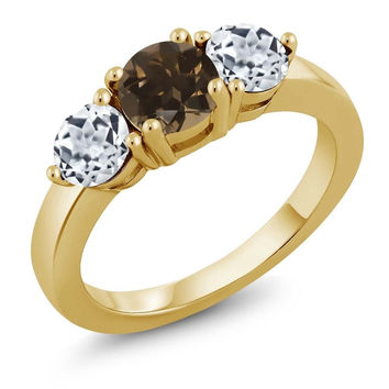 2.00 Ct Round Brown Smoky Quartz White Topaz 18K Yellow Gold Plated Silver Ring