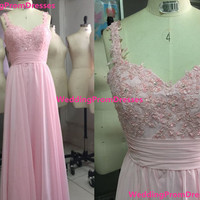 Handmade Beautiful Pink Long Prom Dress with by WeddingPromDresses