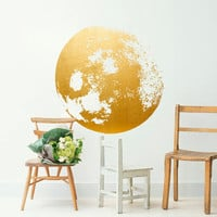 Moon Decal Golden - Gold Foil Art - Moon Wall Decal - Home Decor Sticker - Moon Wall Sticker - Gold Foil Wall Art - Gold Foil Stickers