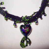 Hand Beaded Jewelry a Cobalt Glass Heart On Cobalt and  Peridot ircular Peyote Rope Necklace
