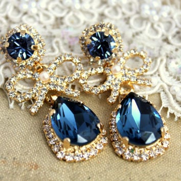 Chandelier Crystal teardrop blue denim  pearls and bow's bridal jewelry - 14 k plated gold earrings real Swarovski.