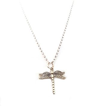 Dragonfly Charm Necklace - Dainty Sterling Silver Jewelry