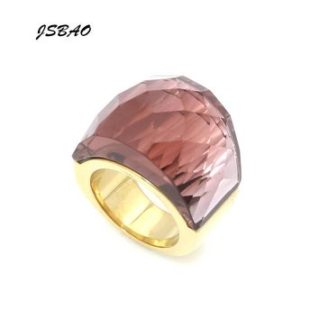 JSBAO New Arrivals Fashion Luxury Brand Glass Jewelry Ring 316L Stainless Steel With Big Wine Red Glass Ring For Women's Jewelry