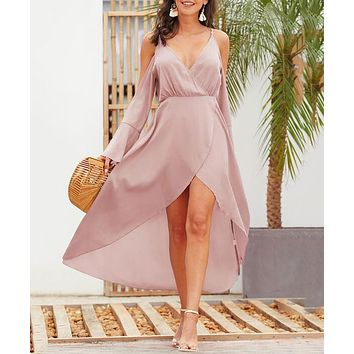 Summer Women Sexy Crossover Deep V Collar Flared Long Sleeve Sling Dress Pink