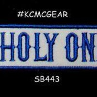UNHOLY ONES Blue on white Iron on Small Patch for Motorcycle Biker Vest SB443