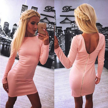 SIMPLE - Sexy Backless Long Sleeve Zipper Solid One Piece Dress a12145