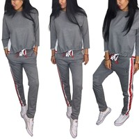 Color Block Sweat Suit with Strings Waist