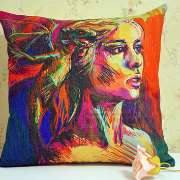 New Zippered Pillow  Cushion 17x17 Inch For The Song of Ice and Fire Game of Thrones Daenerys Targaryen Mother of Dragons