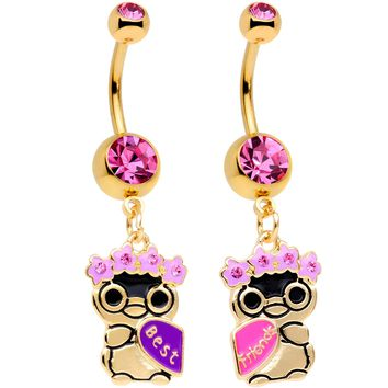 Pink Gem Gold Tone Anodized BFF Penguins Dangle Belly Ring Set