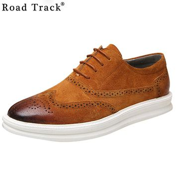 Road Track Oxford Shoes for Men Leather Lace Up Men Dress Shoes Pointed Toe Brogues Men Flats Mixed Colors Flat Shoes