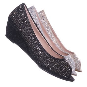 Fisher1 Rhinestone Crystal Low Wedge Pump - Women Peep Toe Shinny Diamond Shoe
