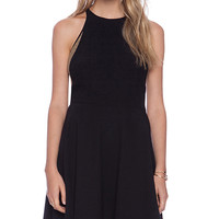 ADDISON Burton Halter Fit + Flare Dress in Black