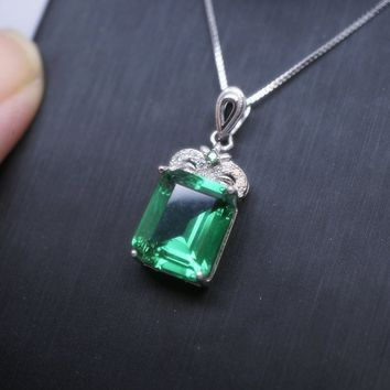 3ct Emerald White Sapphire Sterling Silver Pendant Necklace Jewelry Gifts Luxury Green Emerald Cut Emerald Necklace