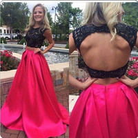 Two Piece Backless Pink Prom Dresses