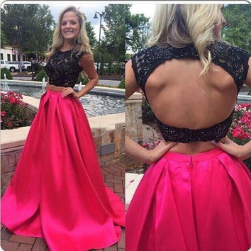 Cap Sleeve Two Piece Backless Prom Dresses