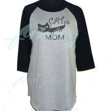 Cat mom tshirt raglan shirt **3/4 sleeve shirt **Halloween day **Men women tshirts size S M L XL XXL