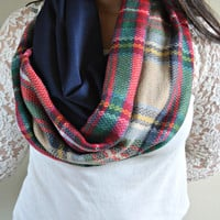 Warm Plaid Infinity scarf, Warm winter Infinity Scarf, Plaid flannel scarf, Back Order