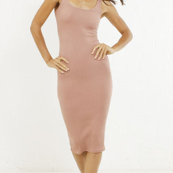 Ribbed Basic Tank Pencil Dress - Mauve