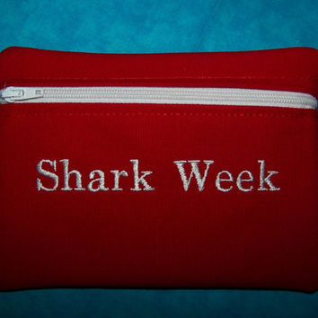 Tampon & Maxi Pad Holder  SHARK WEEK   Red Zippered Purse Pouch / Tampon Keeper