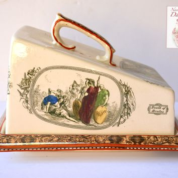 RARE Antique Adams Shakespeare Illustrations Polychrome Lustre Transferware Covered Cheese Dish