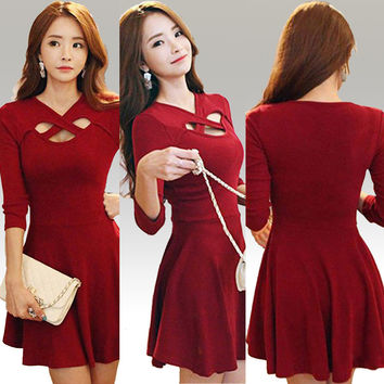 Red Cross Cutout Mini Skater Dress