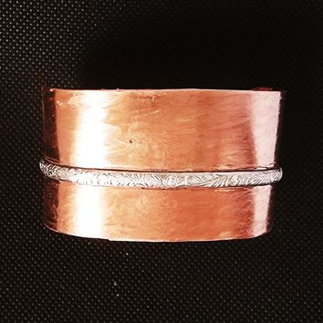 Mixed Metals Copper Cuff, Wide Copper and Silver Cuff Bracelet, Wide Cuff, Artisan Made in the USA, Men or Womens Copper Cuff