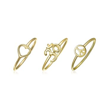 Peace Love Heart Aum Om Ohm Midi Ring Set 14K Plated Sterling Silver