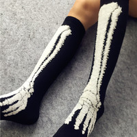 Super Handsome Jack Bones Skull Halloween Long socks women HARAJUKU Street Personality Knee-high Female Socks 541W