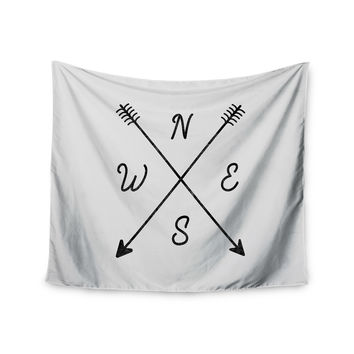 "Draper ""Cardinal Direction A"" White Illustration Wall Tapestry"