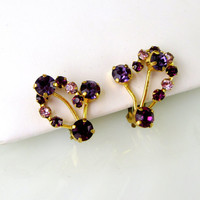 Two Tone Purple Prong Set Rhinestone Earrings Foral Wire Bouquet Design Vintage Gift Collectible Gift Item 2407