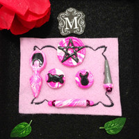 Wicca Pagan Pocket Altar Pink and White with Black