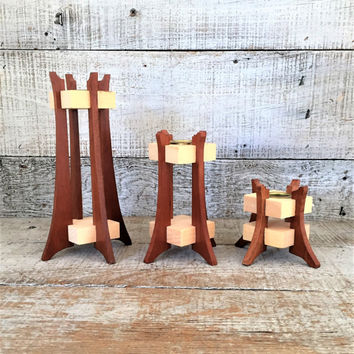 Candlesticks 3 Wood Candle Holders Wood Candlestick Mid Century Candle Holder Handmade Candle Holders Folk Art Candlesticks Rustic Decor