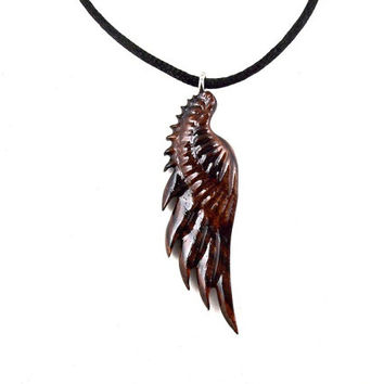 Wing Necklace, Angel Wing Necklace, Angel Wing Pendant, Wing Pendant, Wood Wing Necklace, Angel Wing Jewelry, Dark Angel Wing Necklace
