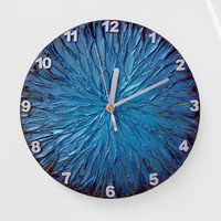 Metallic BLUE WALL CLOCK, Blue Clock, modern wall clock, blue office decor, man cave decor
