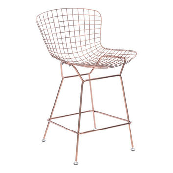 Wire Counter Chair Rose Gold Chromed Steel (Set of 2)