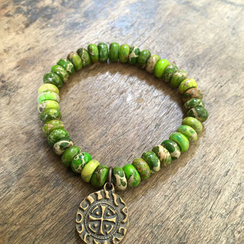 Green Gemstone Bracelet, Spanish Cross Coin, Rustic Bronze, Stretch Beaded Jewelry by Two Silver Sisters