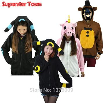 Unisex Cosplay Coat Pikachu Rainbow Unicorn Umbreon Hoodies Hooded Coat Five Night At Freddy Bear Xmas Halloween Jacket Costume