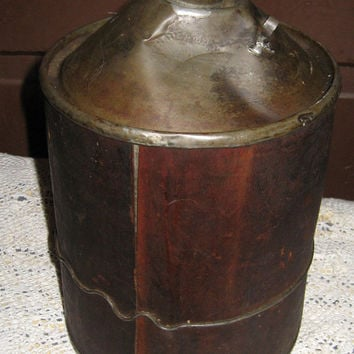 Antique Wooden Covered City Service Oil or Kerosene Can