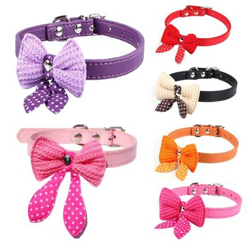 Dog Collar Bling Sequins Bow Leather Pet Collar Puppy Choker Cat Necklace Dog Leash XS S M Collar De Perro coleira mascota gato