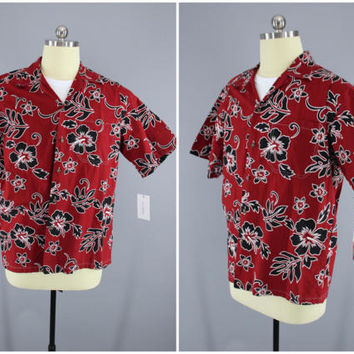 Vintage 1980s Hawaiian Shirt / 80s Aloha Men's Shirt / Vintage Mid-Century Menswear / Red Hawaiian Print / Torch Hawaiian