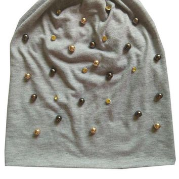 VONG2W B-17909 Fashion 100% cotton good stretchy gold and brown pearl and crystal beanies punk hat design custom