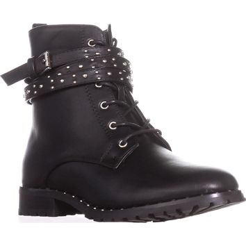 Wanted Spirals Buckle Strap Lace-Up Ankle Booties, Black, 6.5 US