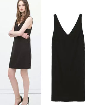 Stylish V-neck Sleeveless Sexy Backless Spaghetti Strap Women's Fashion One Piece Dress [4920229636]