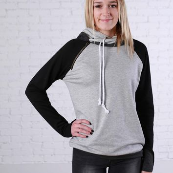 Black and Grey Block Double Hoodie