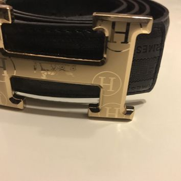 AUNTHENTIC MENS HERMES BELT black/ GOLD