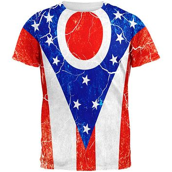 Ohio Vintage Distressed State Flag All Over Mens T Shirt